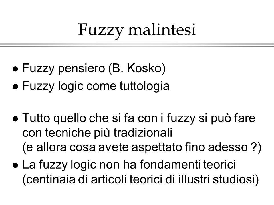 Fuzzy malintesi l Fuzzy pensiero (B. Kosko) l Fuzzy logic come tuttologia l Tutto quello che si fa con i fuzzy si può fare con tecniche più tradiziona