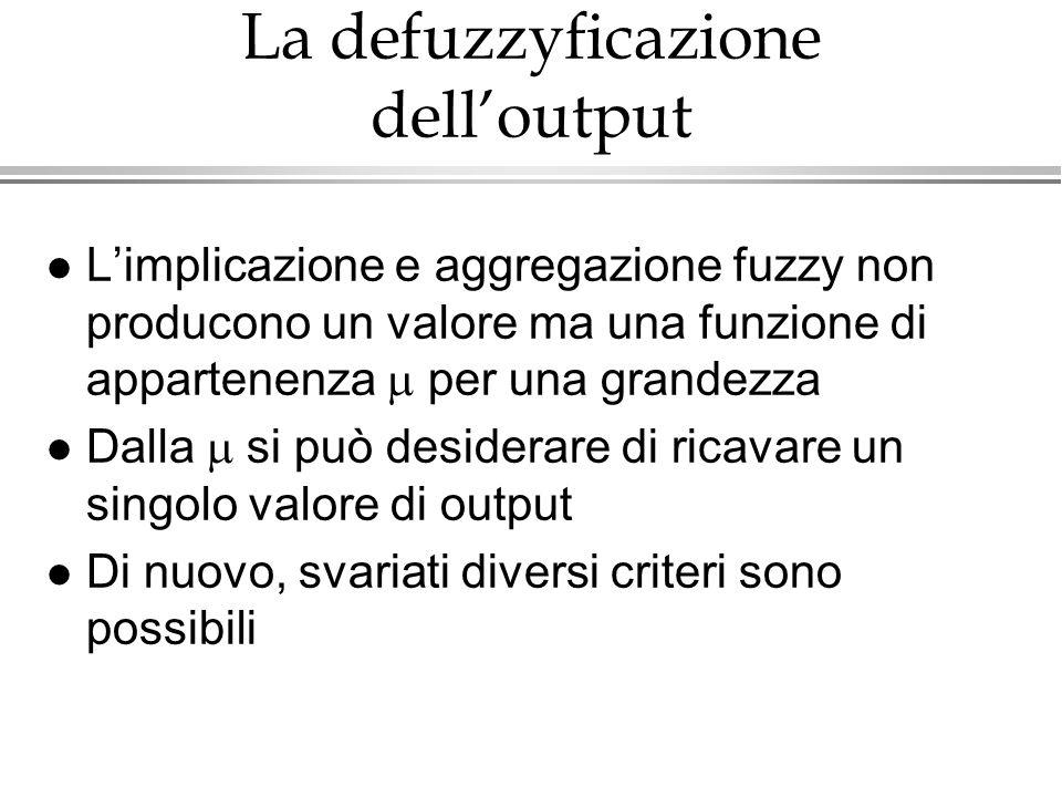 La defuzzyficazione delloutput Limplicazione e aggregazione fuzzy non producono un valore ma una funzione di appartenenza per una grandezza Dalla si p