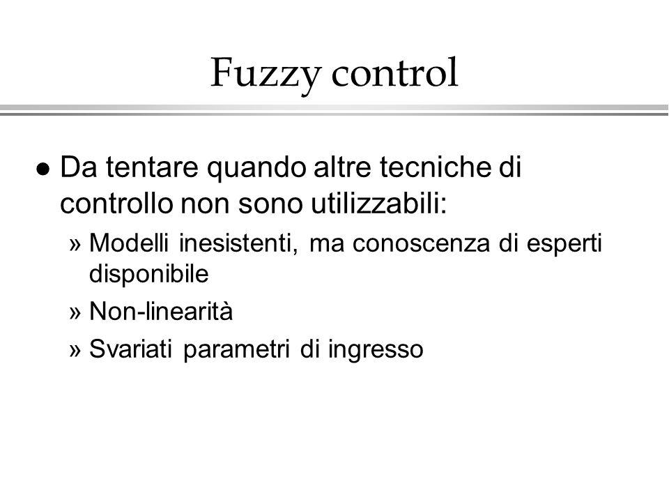 Fuzzy control l Da tentare quando altre tecniche di controllo non sono utilizzabili: »Modelli inesistenti, ma conoscenza di esperti disponibile »Non-l