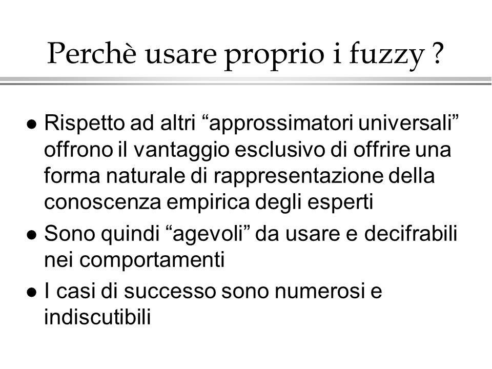 Perchè usare proprio i fuzzy ? l Rispetto ad altri approssimatori universali offrono il vantaggio esclusivo di offrire una forma naturale di rappresen