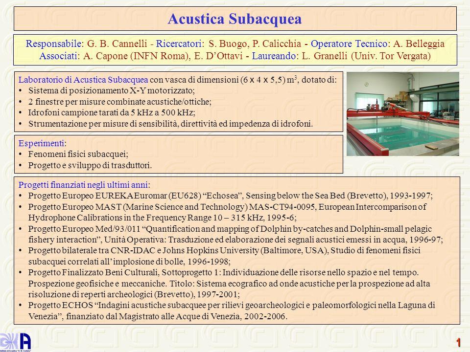 1 Acustica Subacquea Laboratorio di Acustica Subacquea con vasca di dimensioni (6 x 4 x 5,5) m 3, dotato di: Sistema di posizionamento X-Y motorizzato