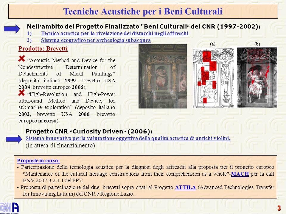 3 Tecniche Acustiche per i Beni Culturali Nell ambito del Progetto Finalizzato