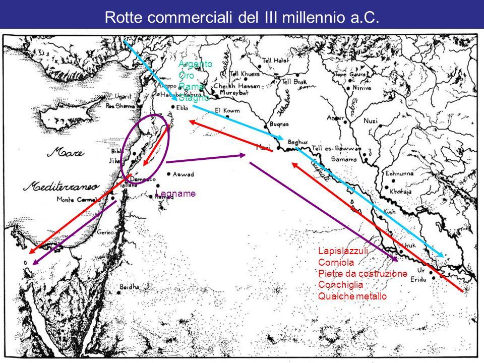 Rotte commerciali del III millennio a.C. Lapislazzuli Corniola Pietre da costruzione Conchiglia Qualche metallo Argento Oro Rame Stagno Legname