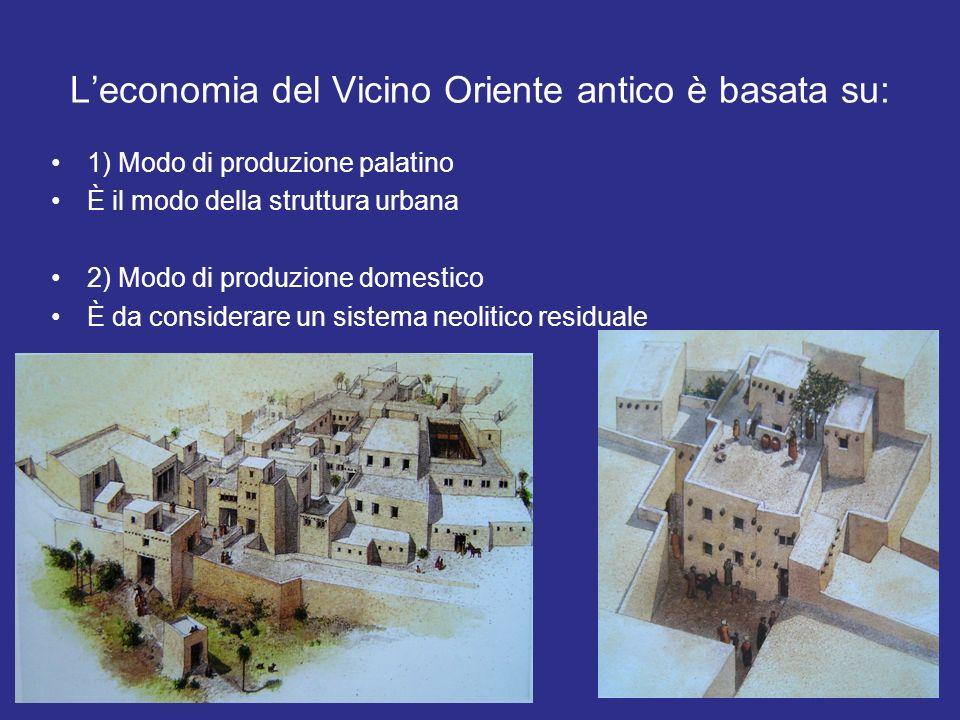 Leconomia del Vicino Oriente antico è basata su: 1) Modo di produzione palatino È il modo della struttura urbana 2) Modo di produzione domestico È da