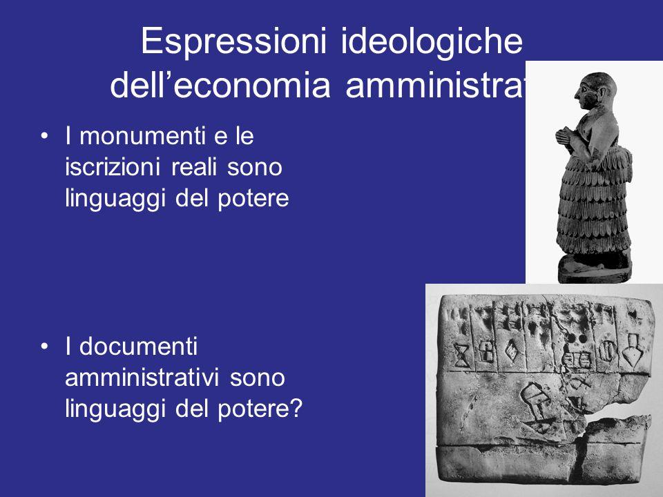 Espressioni ideologiche delleconomia amministrata I monumenti e le iscrizioni reali sono linguaggi del potere I documenti amministrativi sono linguagg