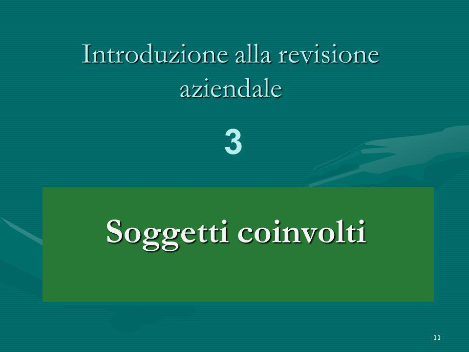 11 Introduzione alla revisione aziendale Soggetti coinvolti 3 3
