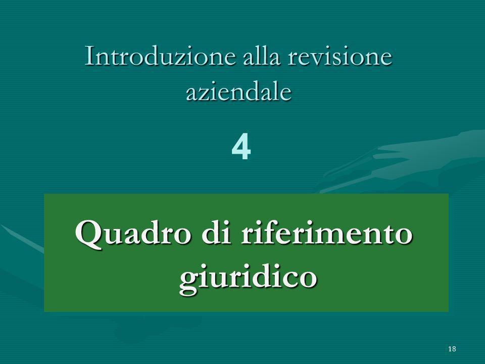 18 Introduzione alla revisione aziendale Quadro di riferimento giuridico giuridico 4 4