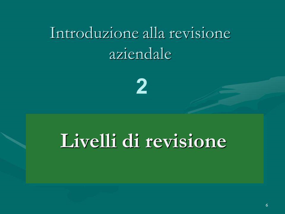 6 Introduzione alla revisione aziendale Livelli di revisione 2 2