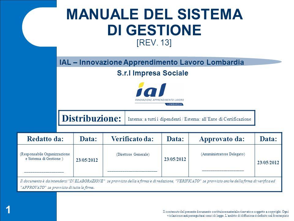 2 Storia delle modifiche apportate (1/2) Rev.DataDescrizione Cambiamenti 1312-05 Modifica campo di applicazione 1212-05 Inserimento nuova sede di Legnano 1111-06 Aggiornamento del Sistema di Gestione con introduzione del modello di organizzazione, gestione e controllo ex D.lgs 231/01 1009-09Aggiornamento del SGQ in conformità alla norma UNI EN ISO 9001:2008 0908-09 Modifiche apportate alle sezioni del Manuale per Nuovo Accreditamento e modifiche normative regionali 0806-09 Modifiche apportate alle sezioni del Manuale per nuovo Statuto e Nuovo regolamento dello IAL Lombardia 0705-06Aggiornamento sez.