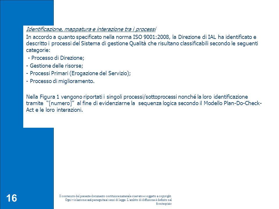 16 Il contenuto del presente documento costituisce materiale riservato e soggetto a copyright. Ogni violazione sarà perseguita ai sensi di legge. L'am
