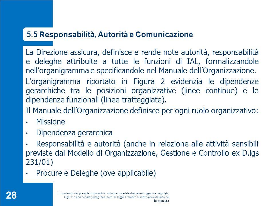 5.5 Responsabilità, Autorità e Comunicazione La Direzione assicura, definisce e rende note autorità, responsabilità e deleghe attribuite a tutte le fu