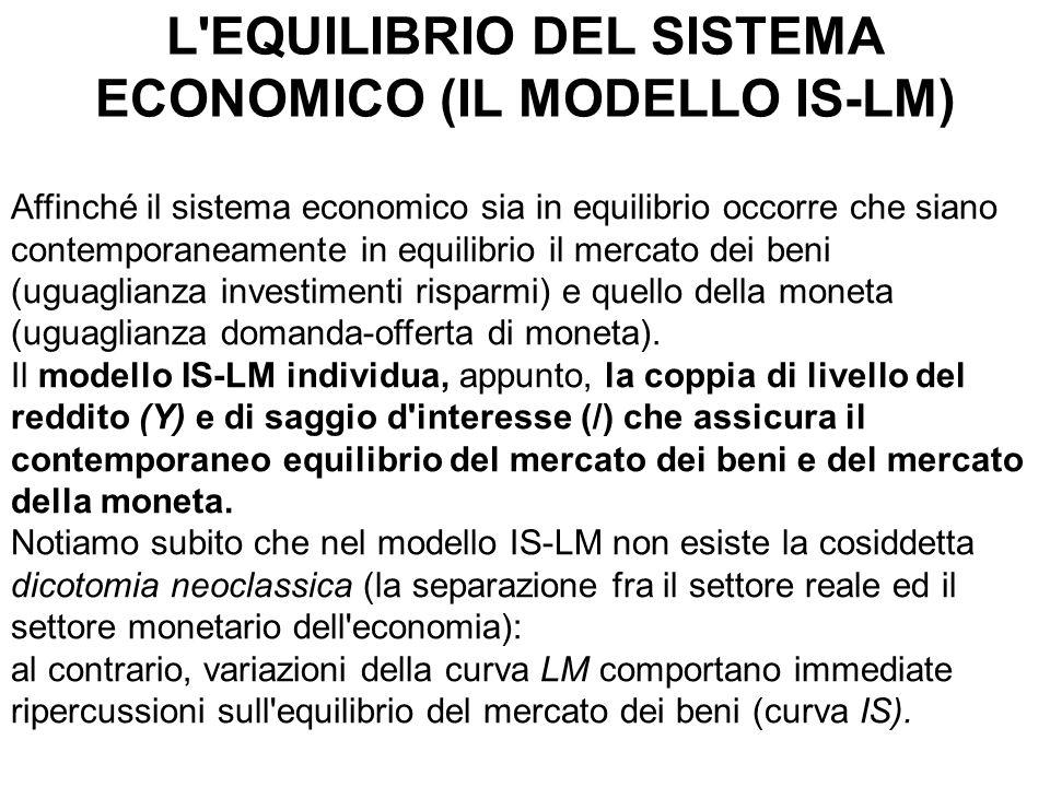 L'EQUILIBRIO DEL SISTEMA ECONOMICO (IL MODELLO IS-LM) Affinché il sistema economico sia in equilibrio occorre che siano contemporaneamente in equilibr