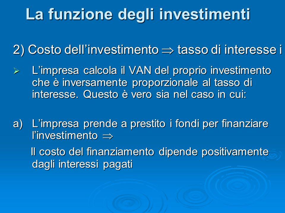 2) Costo dellinvestimento tasso di interesse i Limpresa calcola il VAN del proprio investimento che è inversamente proporzionale al tasso di interesse