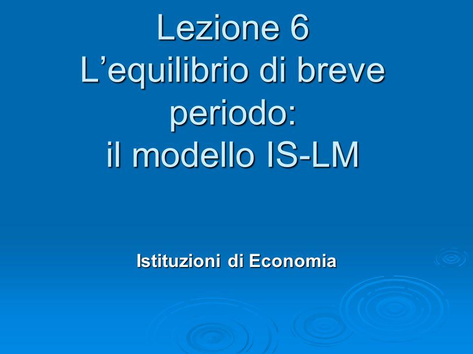 Lezione 6 Lequilibrio di breve periodo: il modello IS-LM Istituzioni di Economia