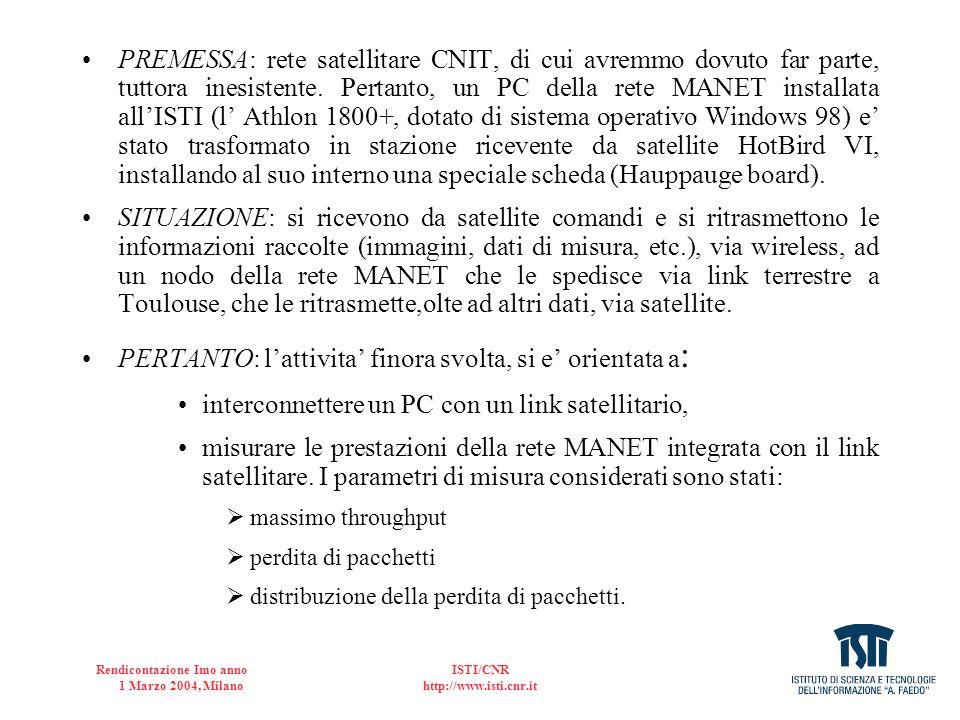 Rendicontazione Imo anno 1 Marzo 2004, Milano ISTI/CNR http://www.isti.cnr.it PREMESSA: rete satellitare CNIT, di cui avremmo dovuto far parte, tuttor