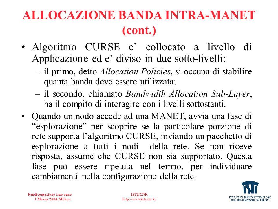 Rendicontazione Imo anno 1 Marzo 2004, Milano ISTI/CNR http://www.isti.cnr.it ALLOCAZIONE BANDA INTRA-MANET (cont.) Algoritmo CURSE e collocato a live