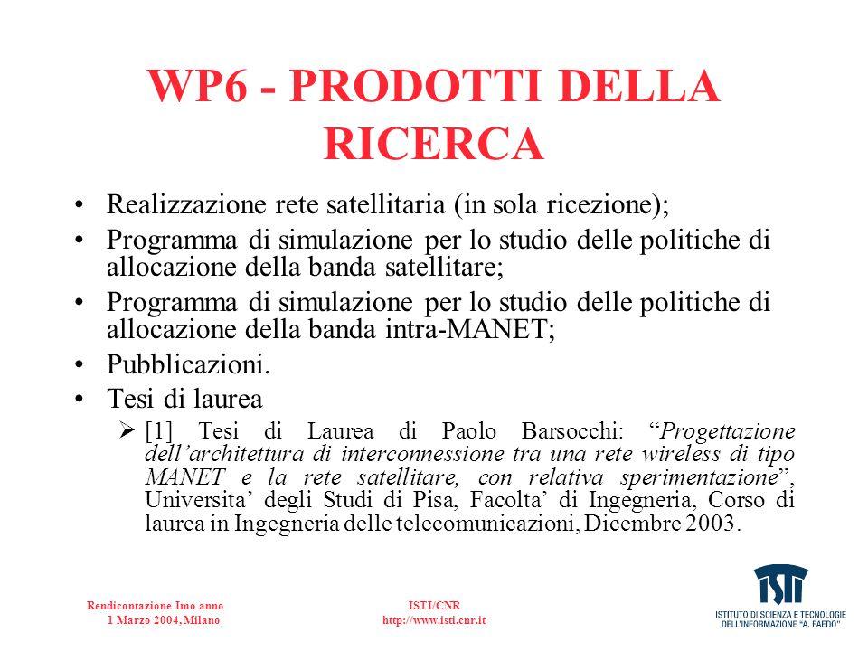 Rendicontazione Imo anno 1 Marzo 2004, Milano ISTI/CNR http://www.isti.cnr.it WP6 - PRODOTTI DELLA RICERCA Realizzazione rete satellitaria (in sola ri
