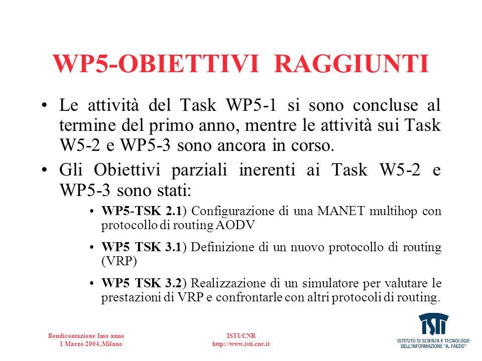 Rendicontazione Imo anno 1 Marzo 2004, Milano ISTI/CNR http://www.isti.cnr.it WP5-RISULTATI OTTENUTI (cont) I.Installazione rete MANET (9 nodi) e misure II.Interconessione di rete MANET con tratta satellitaria (in collaborazione con il Task 1 del WP6).