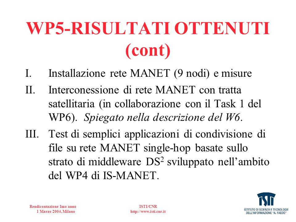 Rendicontazione Imo anno 1 Marzo 2004, Milano ISTI/CNR http://www.isti.cnr.it ALLOCAZIONE BANDA INTRA-MANET (cont.) Algoritmo CURSE e collocato a livello di Applicazione ed e diviso in due sotto-livelli: –il primo, detto Allocation Policies, si occupa di stabilire quanta banda deve essere utilizzata; –il secondo, chiamato Bandwidth Allocation Sub-Layer, ha il compito di interagire con i livelli sottostanti.