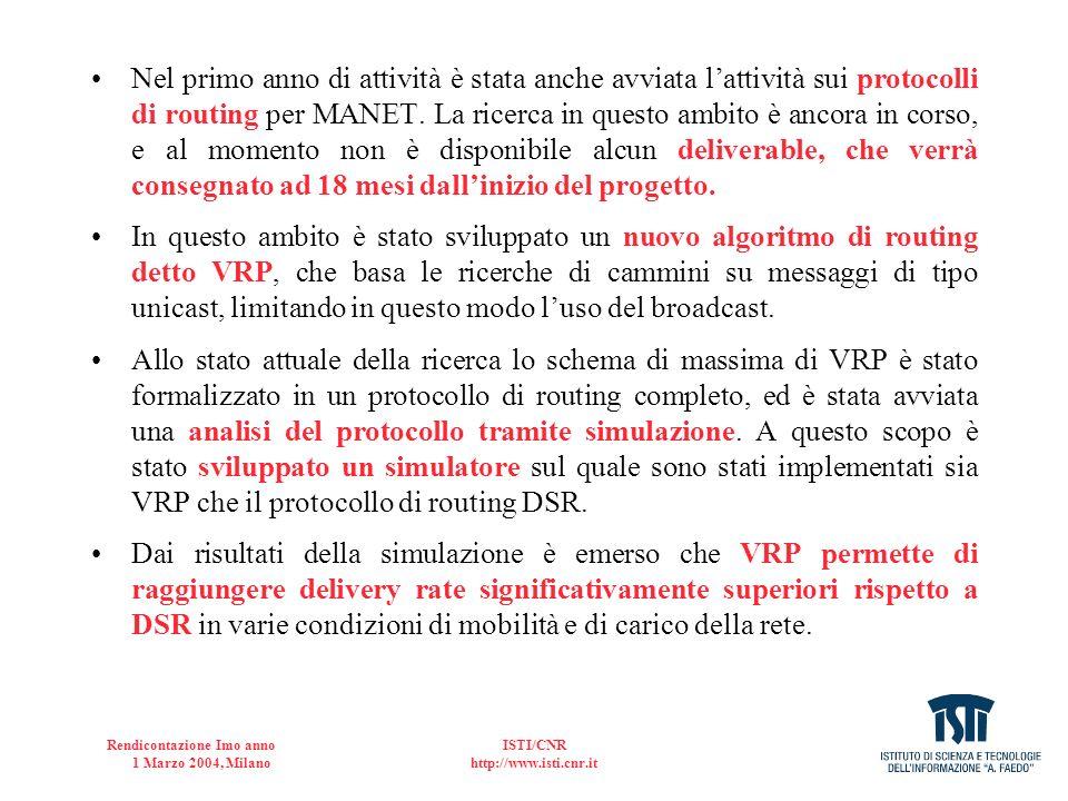 Rendicontazione Imo anno 1 Marzo 2004, Milano ISTI/CNR http://www.isti.cnr.it WP5-Prodotti della ricerca 1.rete MANET funzionante, 2.Simulatore di protocolli di routing VRP e DSR, 3.Tesi di dottorato [2] Tesi di Dottorato di Luiz C.