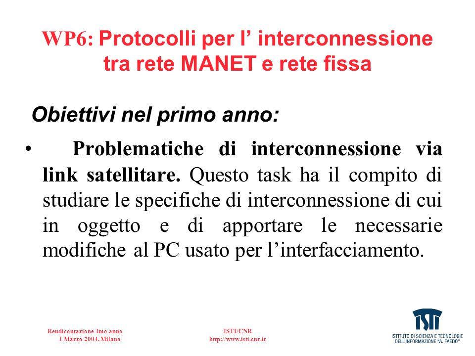 Rendicontazione Imo anno 1 Marzo 2004, Milano ISTI/CNR http://www.isti.cnr.it WP6- RISULTATI OTTENUTI 1.Interconnessione della MANET con la rete satellitare (link in sola ricezione); 2.Studio delle politiche di allocazione (in collaborazione con l U.O.