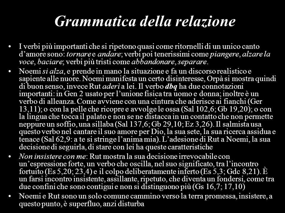 Grammatica della relazione I verbi più importanti che si ripetono quasi come ritornelli di un unico canto damore sono: tornare e andare; verbi poi ten