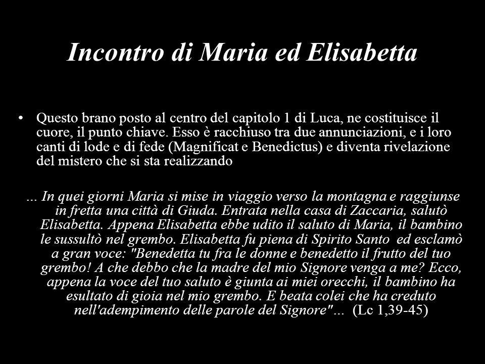 Incontro di Maria ed Elisabetta Questo brano posto al centro del capitolo 1 di Luca, ne costituisce il cuore, il punto chiave. Esso è racchiuso tra du