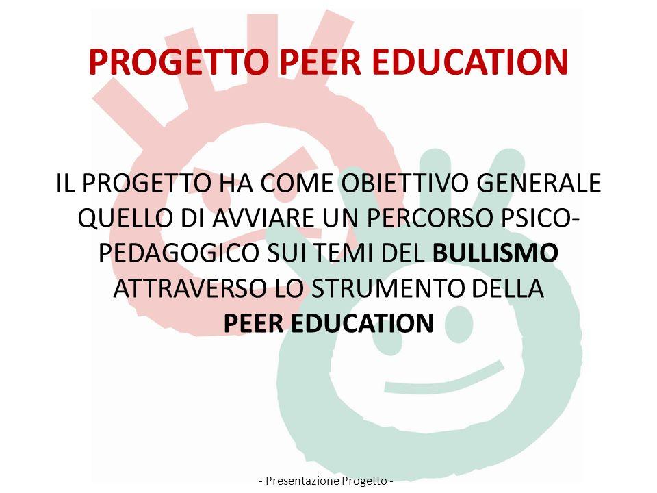 PROGETTO PEER EDUCATION IL PROGETTO HA COME OBIETTIVO GENERALE QUELLO DI AVVIARE UN PERCORSO PSICO- PEDAGOGICO SUI TEMI DEL BULLISMO ATTRAVERSO LO STRUMENTO DELLA PEER EDUCATION - Presentazione Progetto -