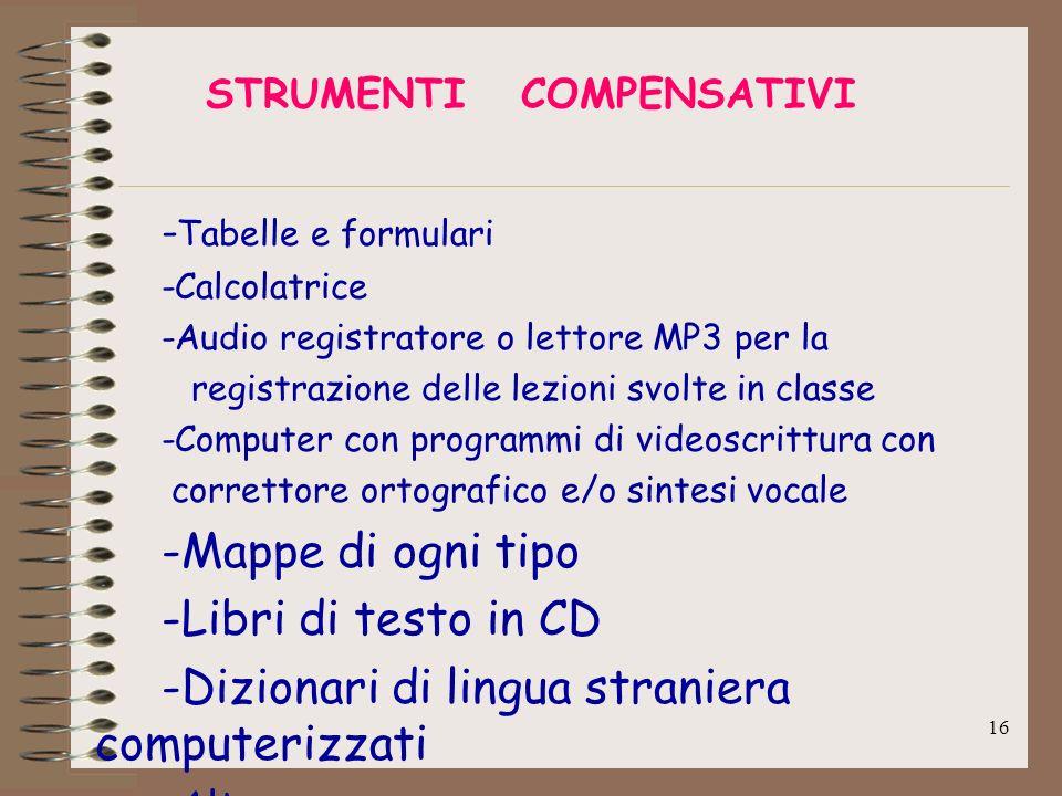 16 STRUMENTI COMPENSATIVI - Tabelle e formulari -Calcolatrice -Audio registratore o lettore MP3 per la registrazione delle lezioni svolte in classe -C