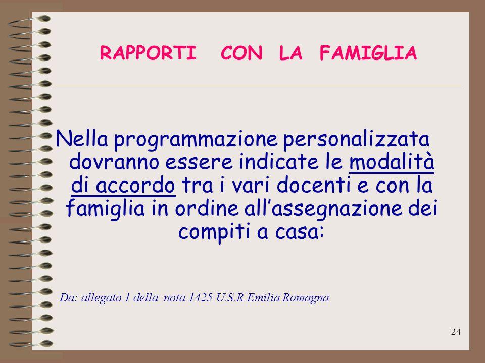24 RAPPORTI CON LA FAMIGLIA Nella programmazione personalizzata dovranno essere indicate le modalità di accordo tra i vari docenti e con la famiglia i