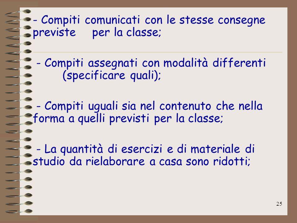 25 - Compiti comunicati con le stesse consegne previste per la classe; - Compiti assegnati con modalità differenti (specificare quali); - Compiti ugua