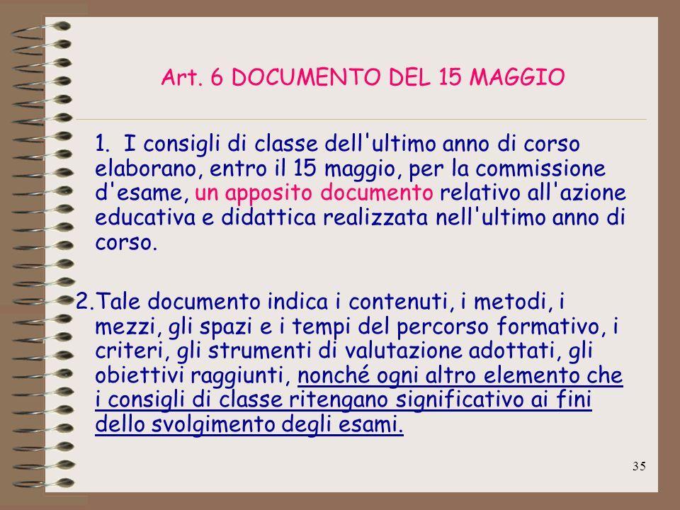 35 Art. 6 DOCUMENTO DEL 15 MAGGIO 1. I consigli di classe dell'ultimo anno di corso elaborano, entro il 15 maggio, per la commissione d'esame, un appo