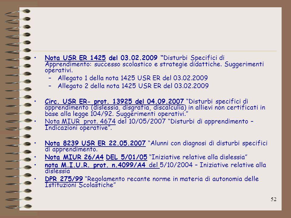 52 Nota USR ER 1425 del 03.02.2009 Disturbi Specifici di Apprendimento: successo scolastico e strategie didattiche. Suggerimenti operativi. –Allegato