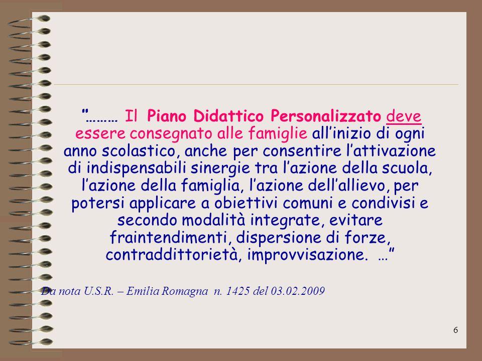 27 IL PIANO DIDATTICO IL PIANO DIDATTICO PERSONALIZZATO dellITG GUARINI di Modena