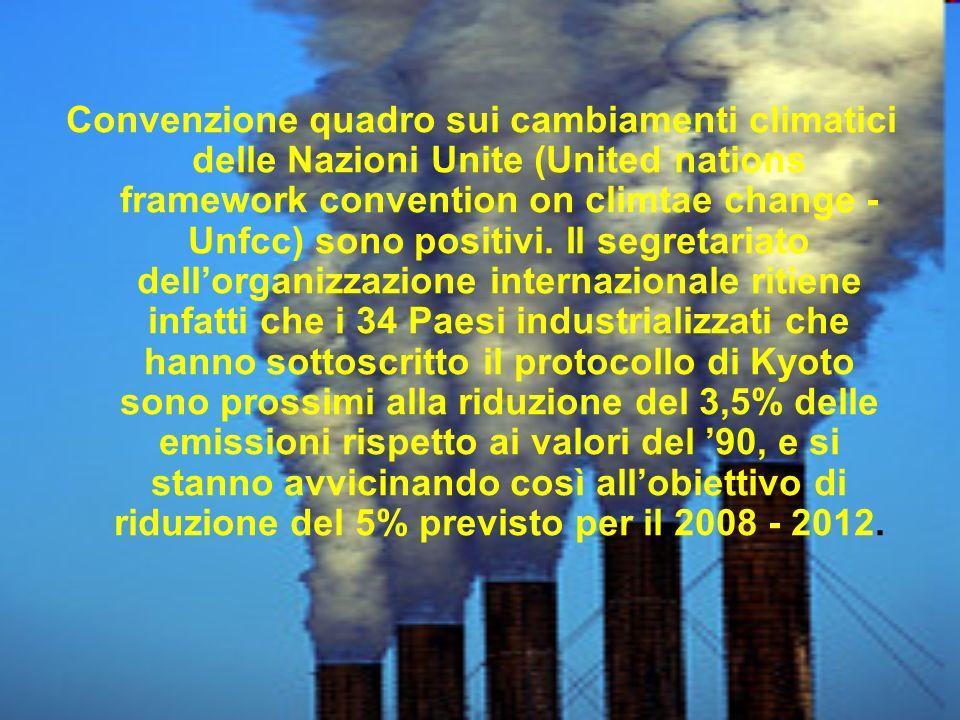 Convenzione quadro sui cambiamenti climatici delle Nazioni Unite (United nations framework convention on climtae change - Unfcc) sono positivi. Il seg