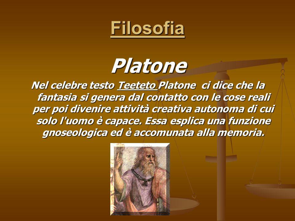 Filosofia Platone Nel celebre testo Teeteto Platone ci dice che la fantasia si genera dal contatto con le cose reali per poi divenire attività creativ