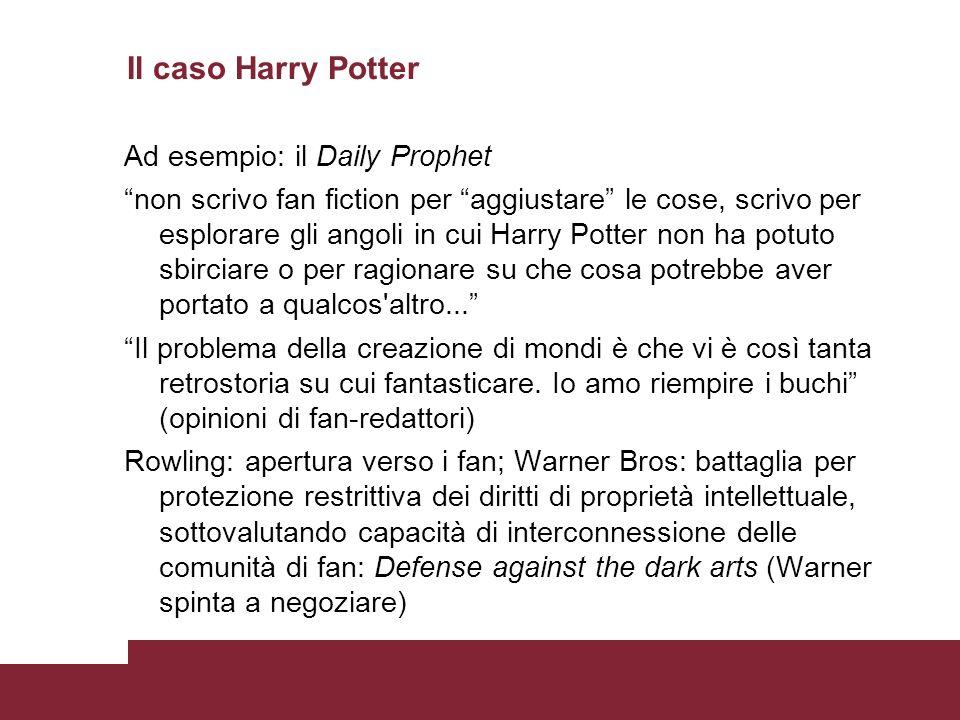 Il caso Harry Potter Ad esempio: il Daily Prophet non scrivo fan fiction per aggiustare le cose, scrivo per esplorare gli angoli in cui Harry Potter non ha potuto sbirciare o per ragionare su che cosa potrebbe aver portato a qualcos altro...