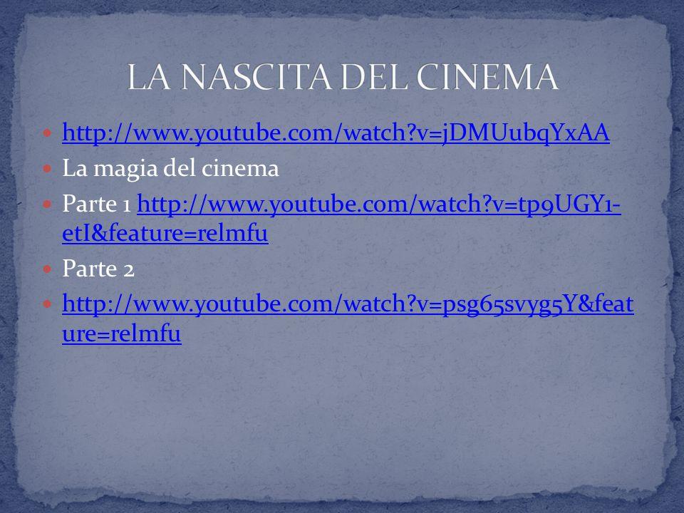 http://www.youtube.com/watch?v=jDMUubqYxAA La magia del cinema Parte 1 http://www.youtube.com/watch?v=tp9UGY1- etI&feature=relmfuhttp://www.youtube.co