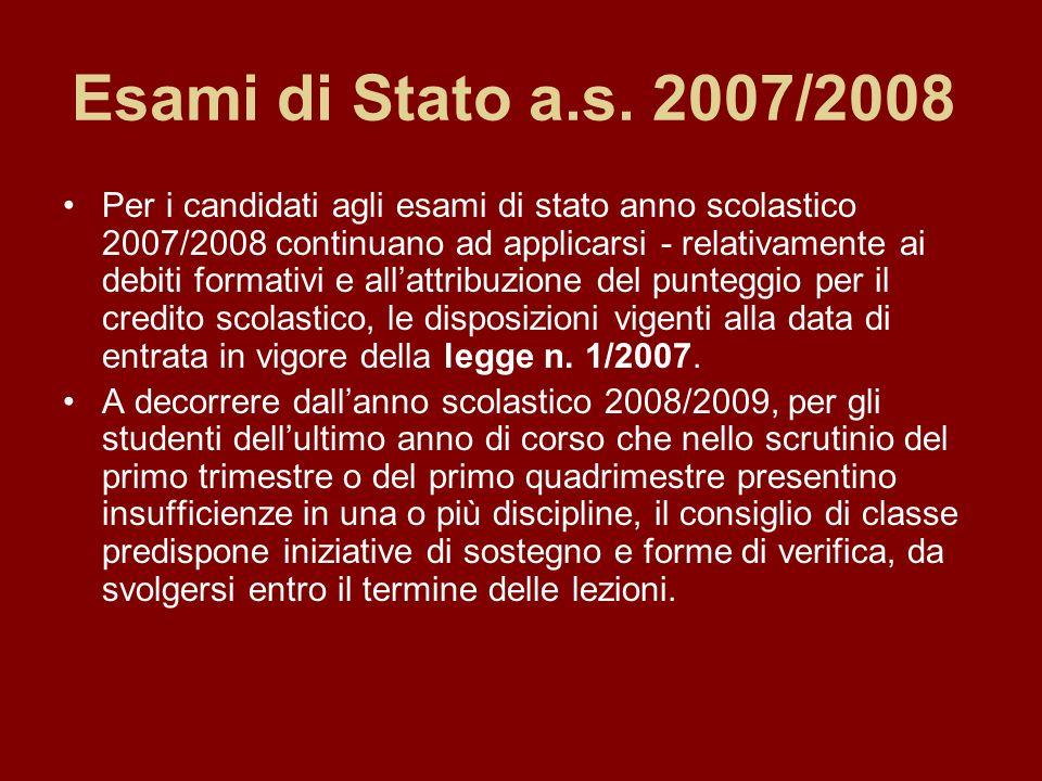 Esami di Stato a.s. 2007/2008 Per i candidati agli esami di stato anno scolastico 2007/2008 continuano ad applicarsi - relativamente ai debiti formati
