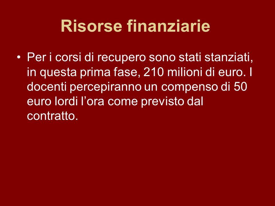 Risorse finanziarie Per i corsi di recupero sono stati stanziati, in questa prima fase, 210 milioni di euro. I docenti percepiranno un compenso di 50