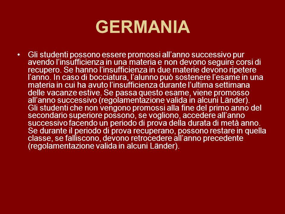 GERMANIA Gli studenti possono essere promossi allanno successivo pur avendo linsufficienza in una materia e non devono seguire corsi di recupero. Se h