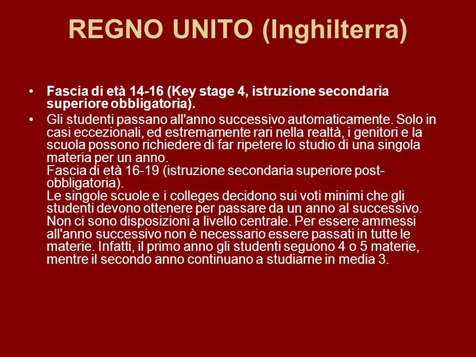 REGNO UNITO (Inghilterra) Fascia di età 14-16 (Key stage 4, istruzione secondaria superiore obbligatoria). Gli studenti passano all'anno successivo au