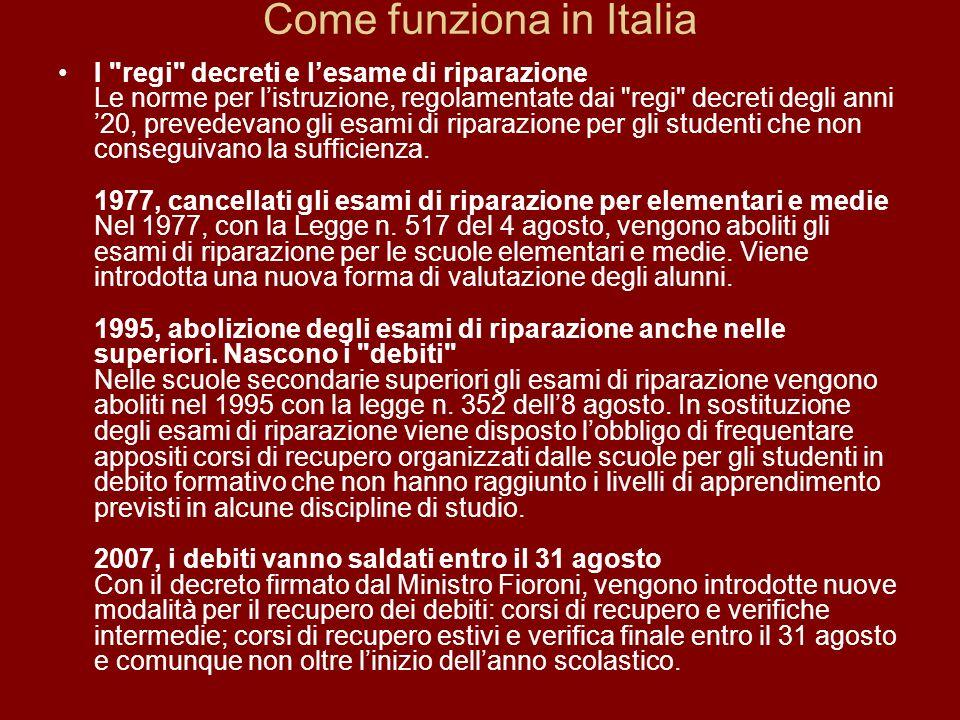 Come funziona in Italia I