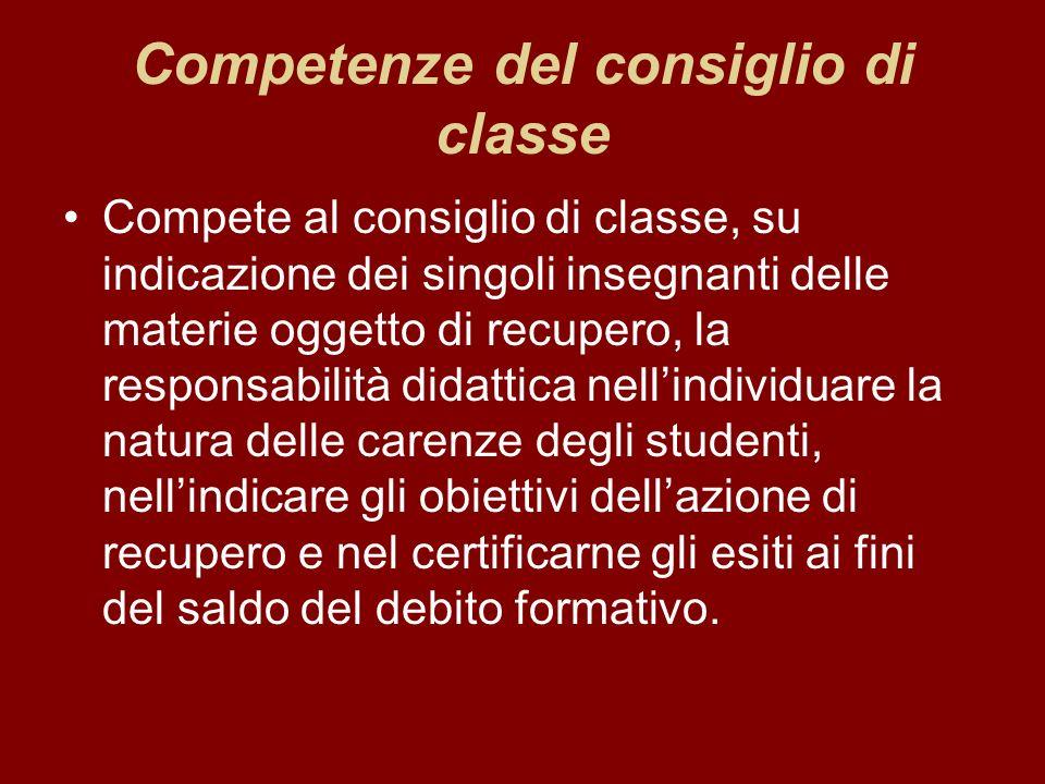 Competenze del consiglio di classe Compete al consiglio di classe, su indicazione dei singoli insegnanti delle materie oggetto di recupero, la respons