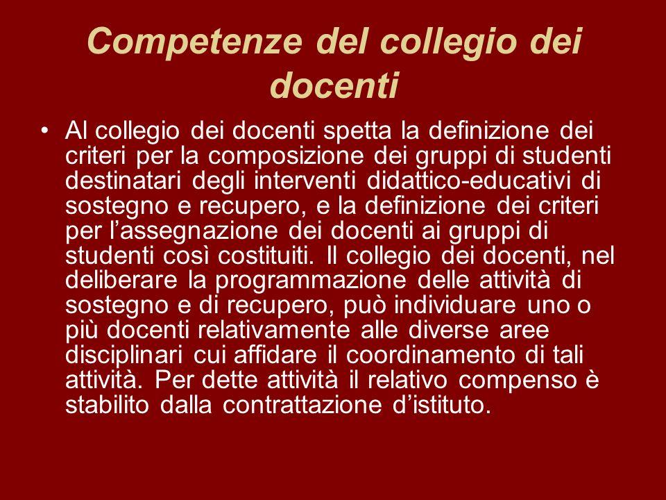 Competenze del collegio dei docenti Al collegio dei docenti spetta la definizione dei criteri per la composizione dei gruppi di studenti destinatari d