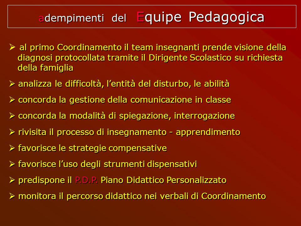 adempimenti del Equipe Pedagogica al primo Coordinamento il team insegnanti prende visione della diagnosi protocollata tramite il Dirigente Scolastico