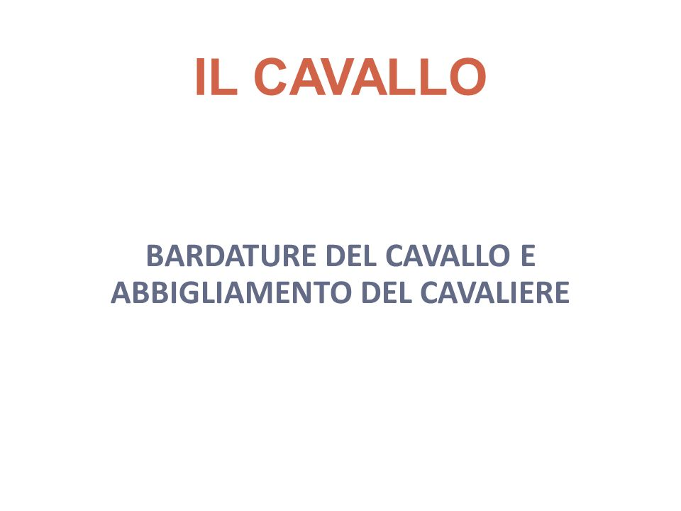 IL CAVALLO BARDATURE DEL CAVALLO E ABBIGLIAMENTO DEL CAVALIERE