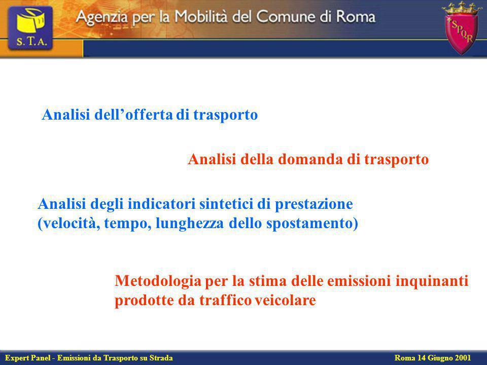 Expert Panel - Emissioni da Trasporto su Strada Roma 14 Giugno 2001 Emissioni per arco di CO (kg/h) 42 kg di CO emessi nellora di punta