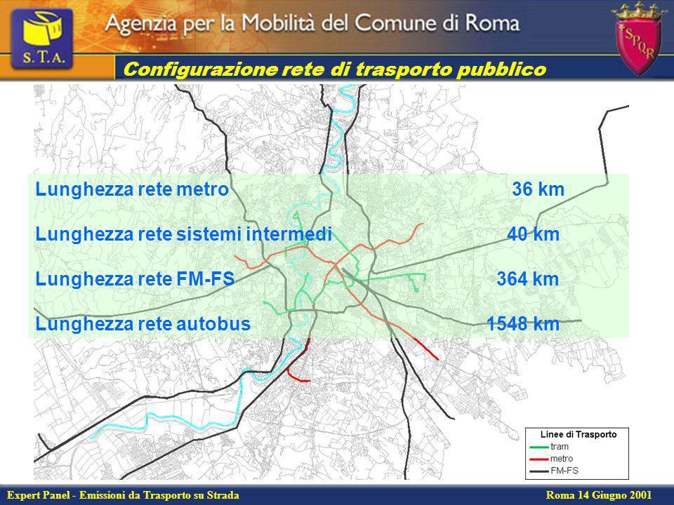 Expert Panel - Emissioni da Trasporto su Strada Roma 14 Giugno 2001 Configurazione rete di trasporto privato autostrada166 km scorrimento 48 km interzonali226 km interquartiere 144 km quartiere283 km viabilità secondaria402 km