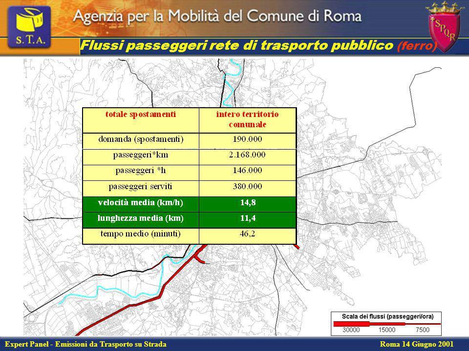 Expert Panel - Emissioni da Trasporto su Strada Roma 14 Giugno 2001 Flussi sulla rete di trasporto privata Spostamenti interessanti il Comune di Roma nellora di punta del mattino